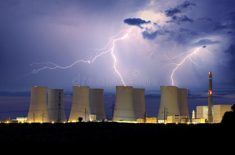 Nuclear power plant at storm.  royalty free stock images