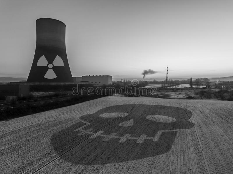 Nuclear power plant sunset sunrise black white Radiation soil environment royalty free stock photos