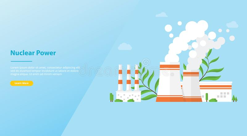 Nuclear power plant technology resources alternative for website template or landing homepage design - vector royalty free illustration