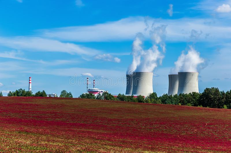 Nuclear power plant Temelin and clover field in Czech Republic. Europe stock photos