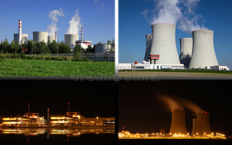 Nuclear power plant Temelin, Czech Republic. Blue sky stock photography