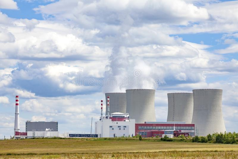 Nuclear power plant Temelin, Czech Republic. Cloudy sky royalty free stock image