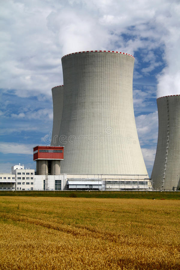 Nuclear power plant Temelin in Czech Republic Europe. Cloudy sky stock images