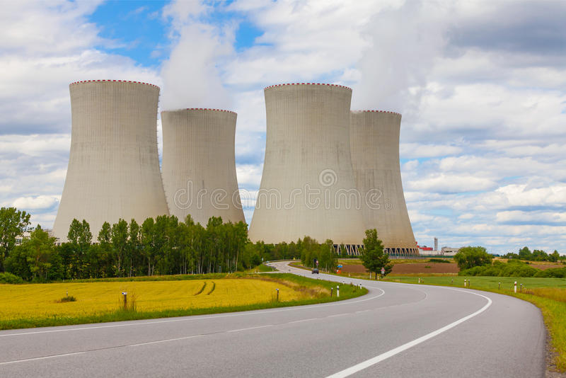 Nuclear power plant Temelin in Czech Republic Europe. Cloudy sky stock photography