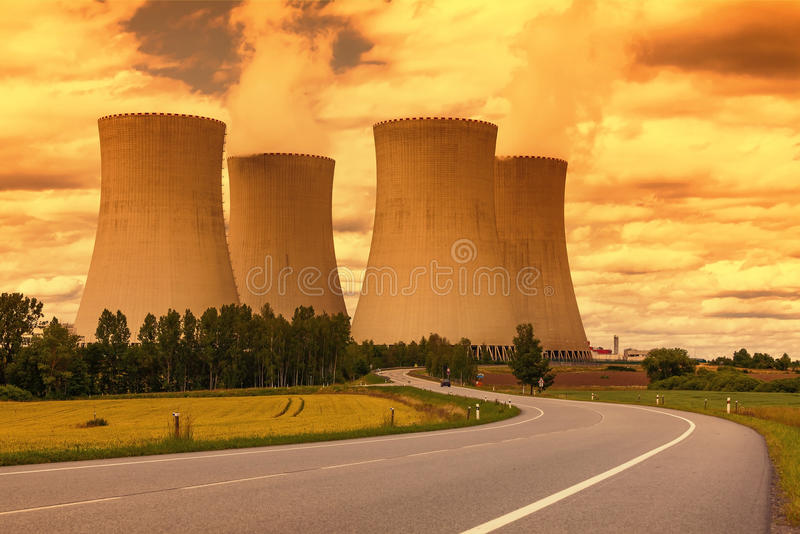 Nuclear power plant Temelin in Czech Republic Europe. Sunset sky royalty free stock photo