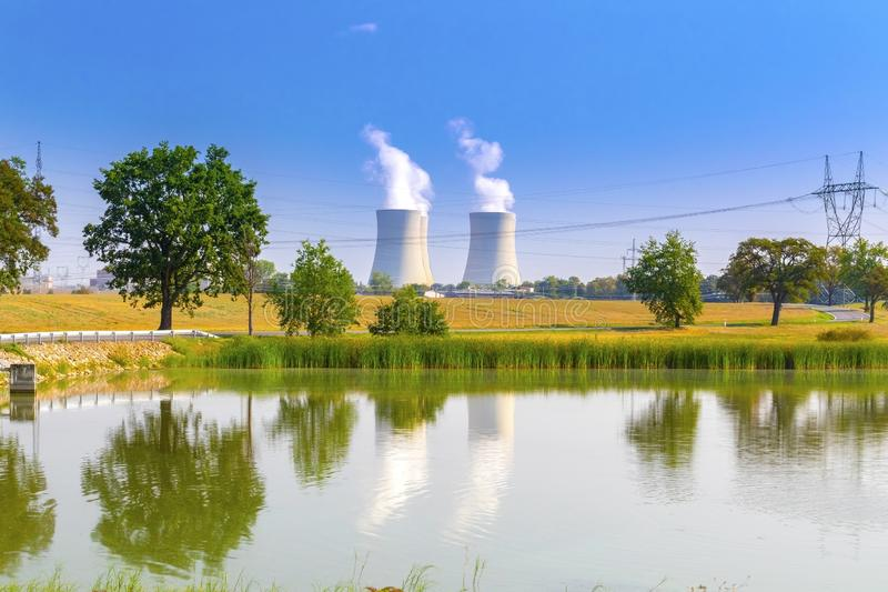 Nuclear power plant Temelin, Czech Republic. With blue sky stock photography
