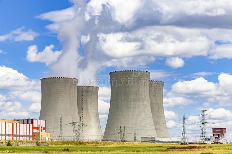 Nuclear power plant Temelin in Czech Republic. Europe. Cloudy sky royalty free stock images