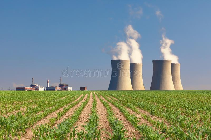 Nuclear power plant Temelin with green corn field. Czech Republic royalty free stock photos
