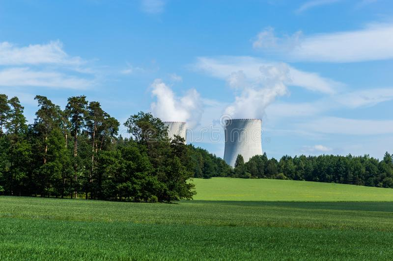 Nuclear power plant Temelin and green field in Czech Republic. Europe stock images