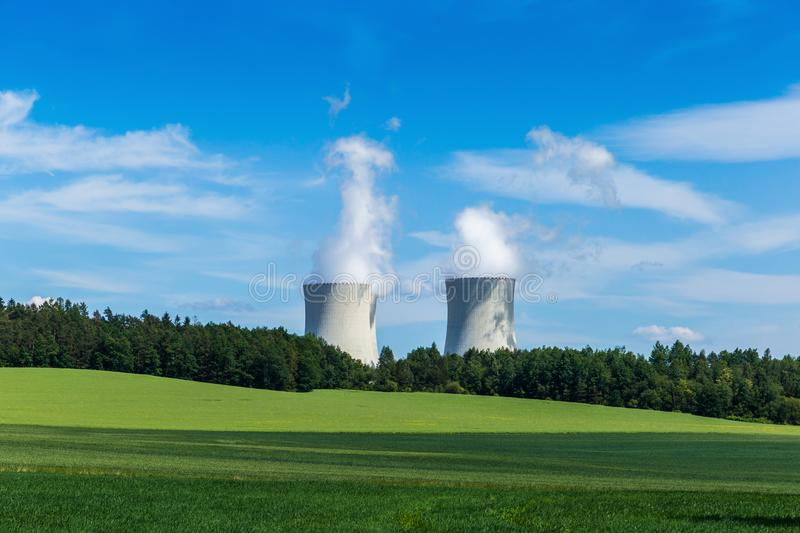 Nuclear power plant Temelin and green field in Czech Republic. Europe royalty free stock images