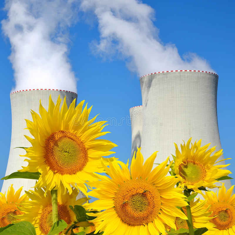 Nuclear power plant Temelin. With sunflowers in Czech Republic stock image