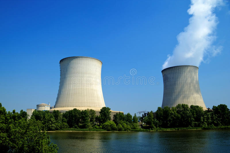 Nuclear power plant waterfront. Front view of some nuclear power plant waterfront royalty free illustration