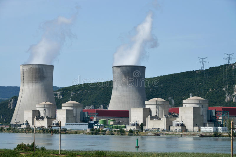 Nuclear power plant. Working nuclear power plant in France at river Rhone