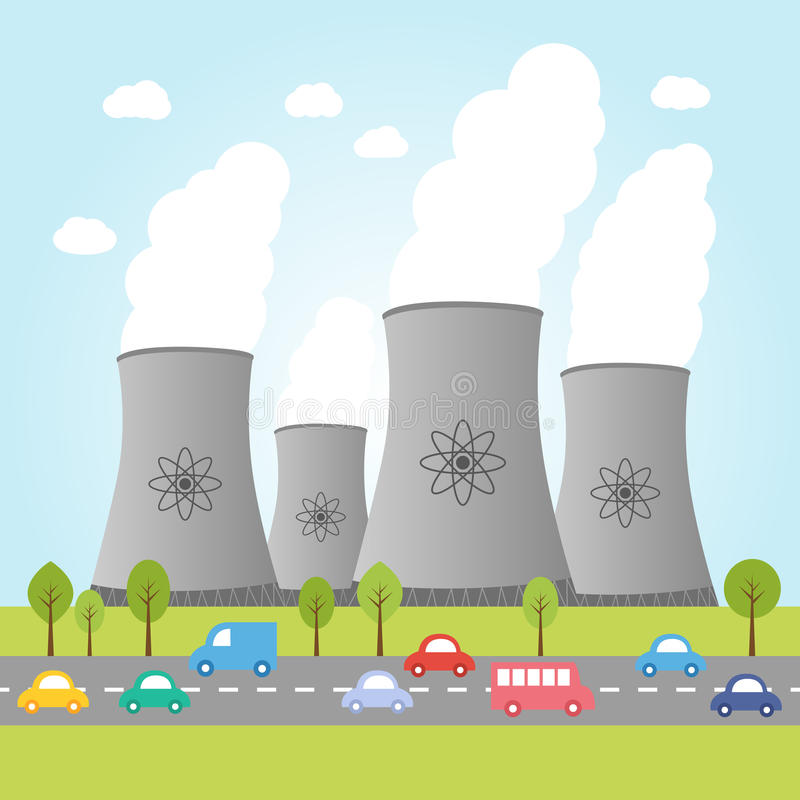 Nuclear power plants with road and cars royalty free illustration