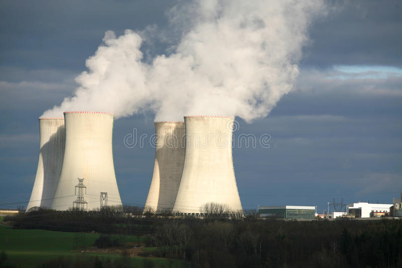 Nuclear power station. At night, Dukovany, Czech Republic royalty free stock images