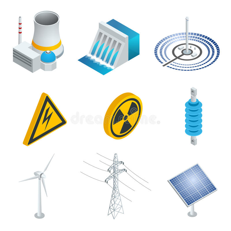 Nuclear power station, Solar power station, Wind turbine, solar panel, hydroelectric power station. 3d flat isometric vector illustration