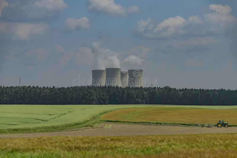 Nuclear powerplant near Temelin village in summer hot cloudy day. In south Bohemia royalty free stock images