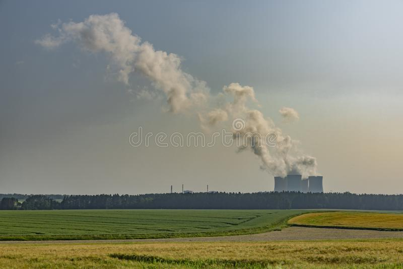 Nuclear powerplant near Temelin village in summer hot cloudy day. In south Bohemia stock images
