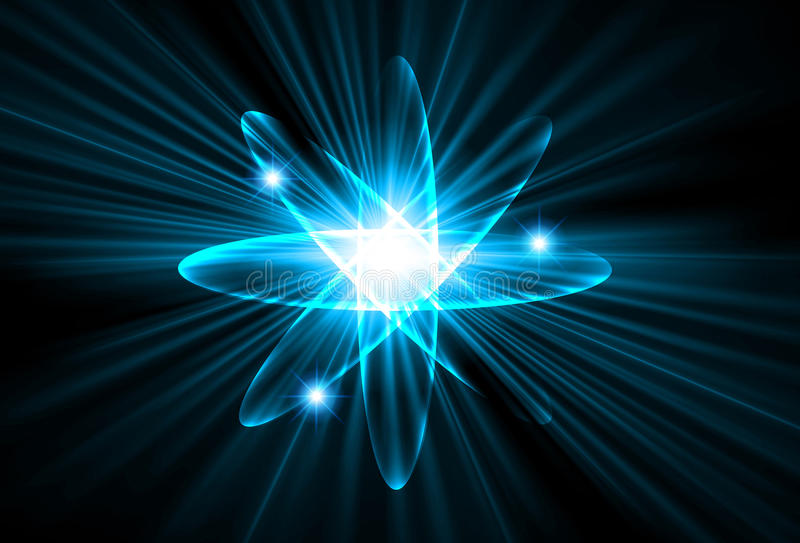 Nuclear, protão, nêutron, tecnologia abstrata clara do núcleo fotografia de stock royalty free