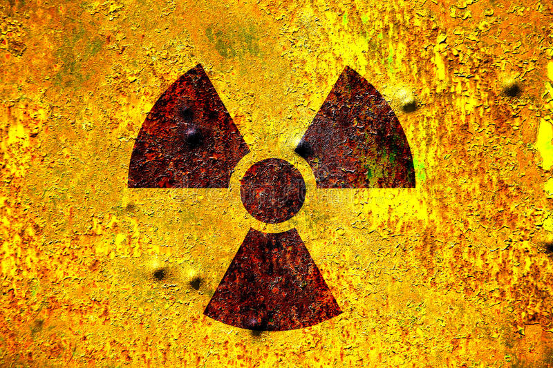 Nuclear radiation. Sign background. Textured and filtered to get that acid and poisonous look