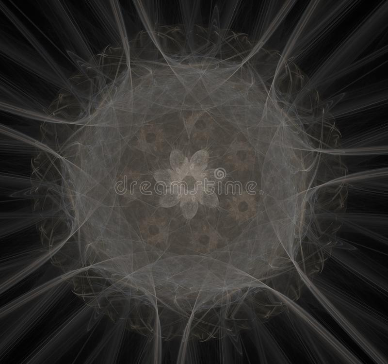 Nuclear radiation. Image molecules and atoms. Elementary Particles series. Interplay of abstract fractal forms on the subject of nuclear physics. The collision stock illustration