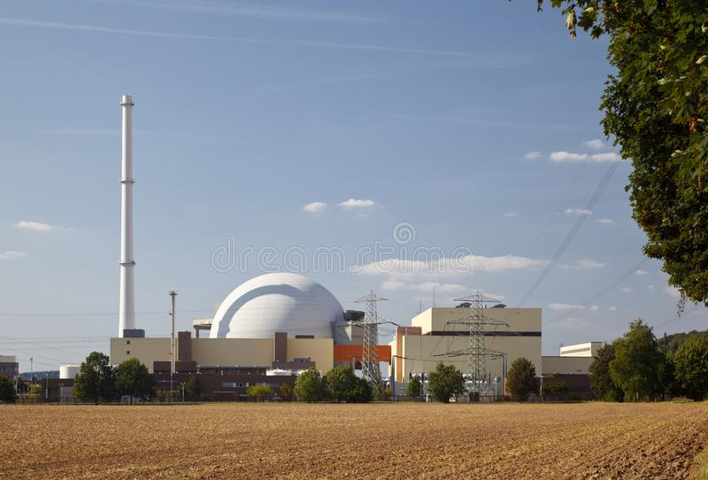 Nuclear Reactor Building. Reactor part of a nuclear power plant in sunlight royalty free stock photos