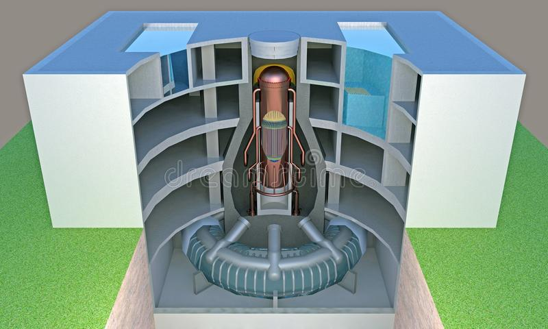Nuclear reactor in section vector illustration