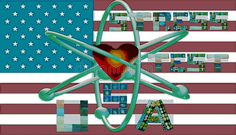 Nuclear stress test usa symbol letters collages. Nuclear cardiac stress test is one of the most popular imaging diagnostic of myocardial perfusion in USA. Every stock illustration