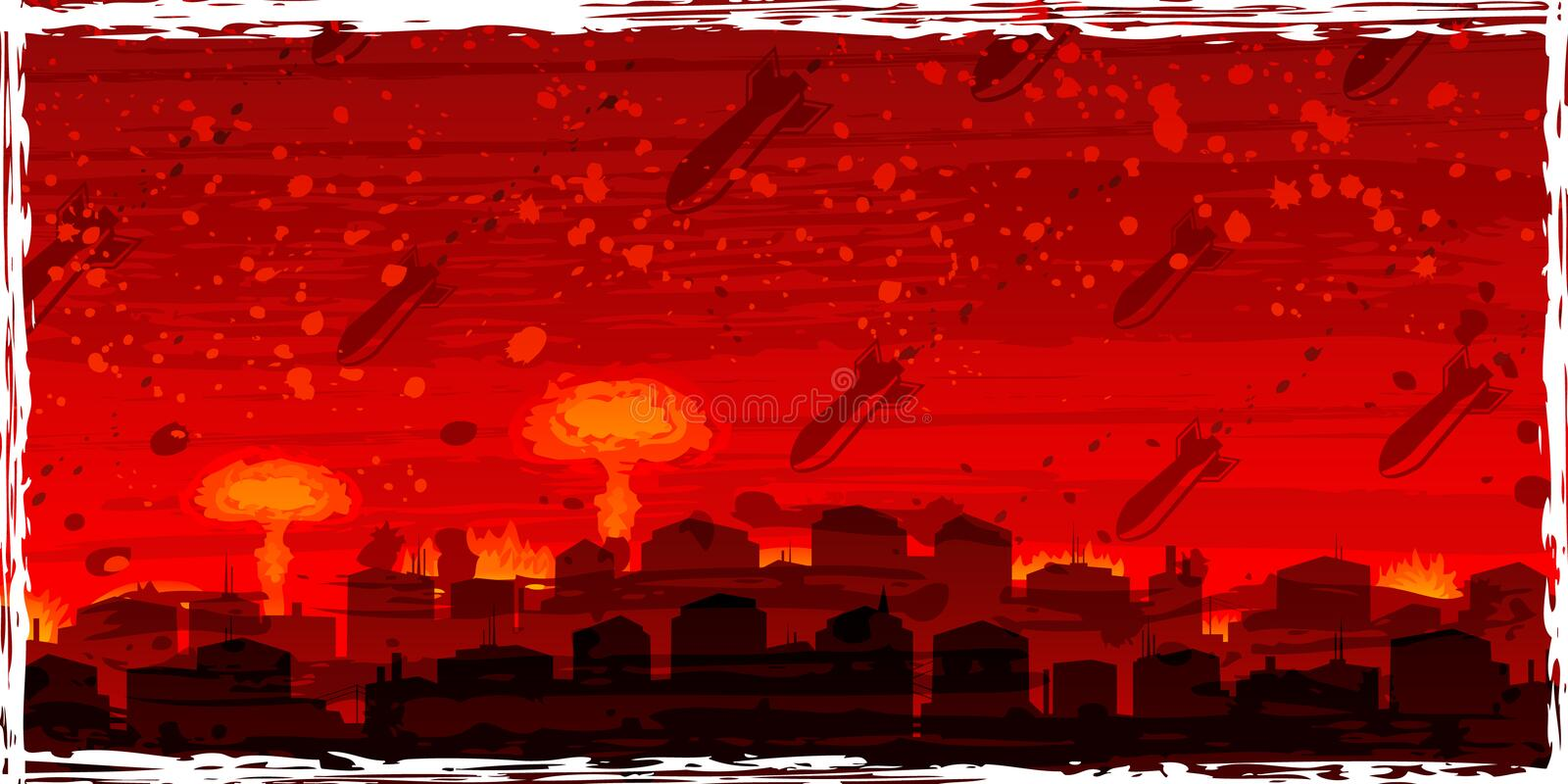 Nuclear War - Atom Bombs Falling On The Doomed Cit Stock Images