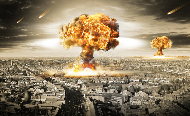 Nuclear War. Illustration of a nuclear war distruction over a city.World war three nuclear danger
