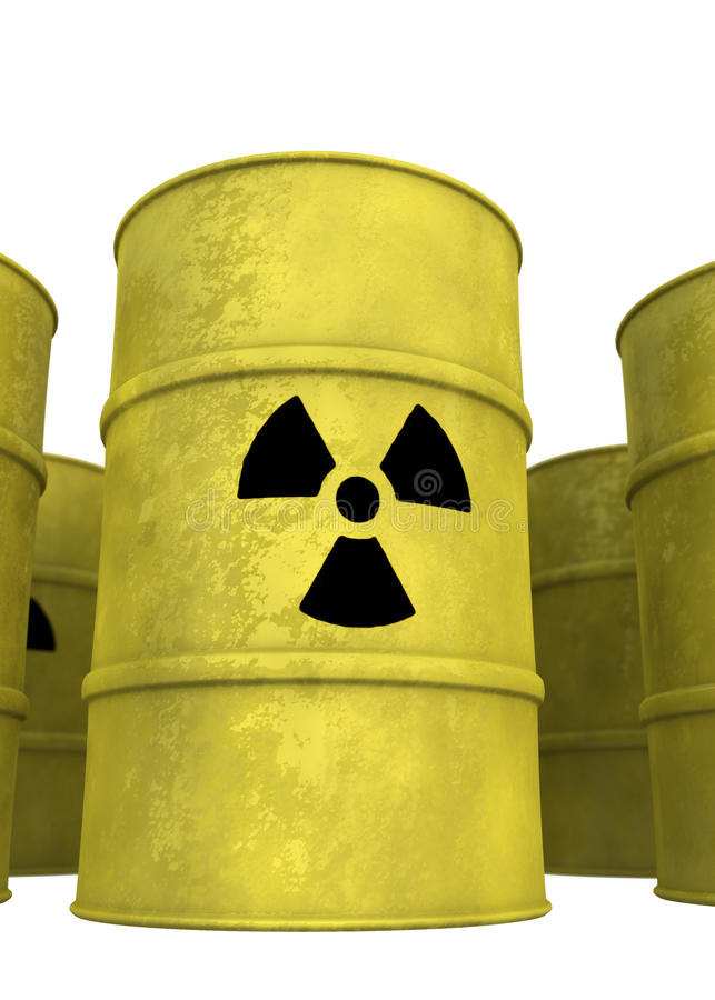 Nuclear waste barrel from below. View of nuclear waste barrel from below vector illustration