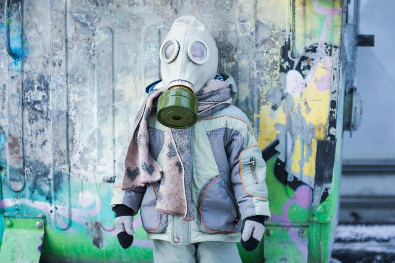 nuclear winter. a small child stock image