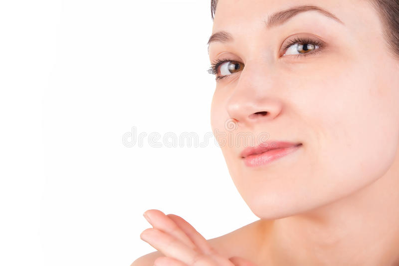 Nude αποτελέστε του νέου καυκάσιου κοριτσιού, στο λευκό στοκ φωτογραφία με δικαίωμα ελεύθερης χρήσης