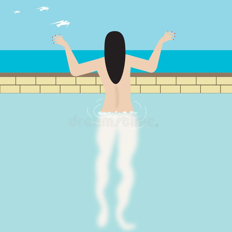 Nude γυναίκα στη λίμνη απεικόνιση αποθεμάτων