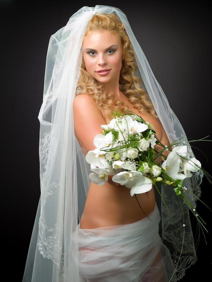 Nude bride stock image. Image of woman, flower, elegance ...