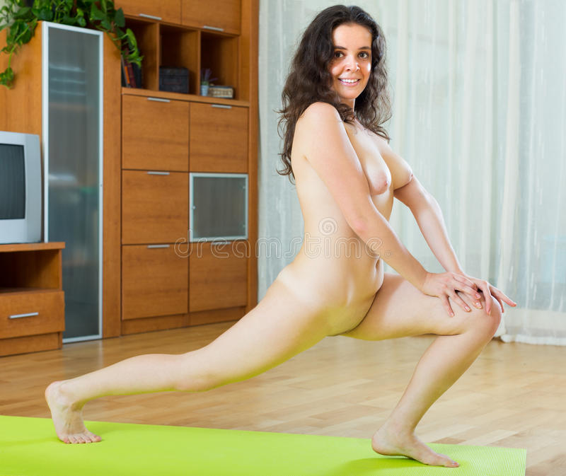 Nude girl doing yoga
