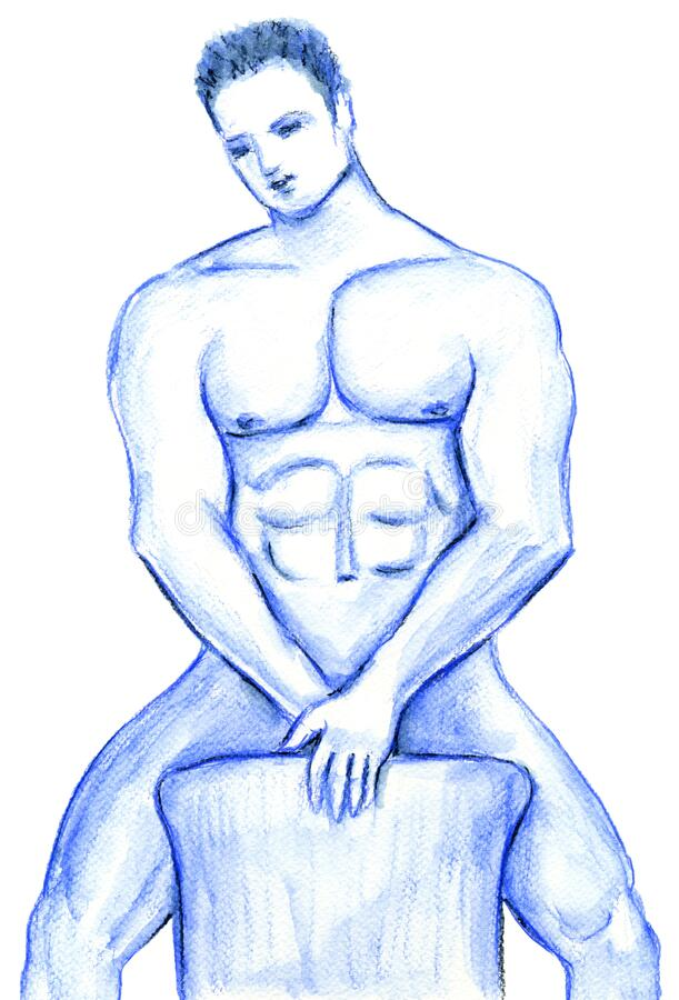 Free Nude Male Behind A Chair Illustration In Blue Stock Photo - 177090110