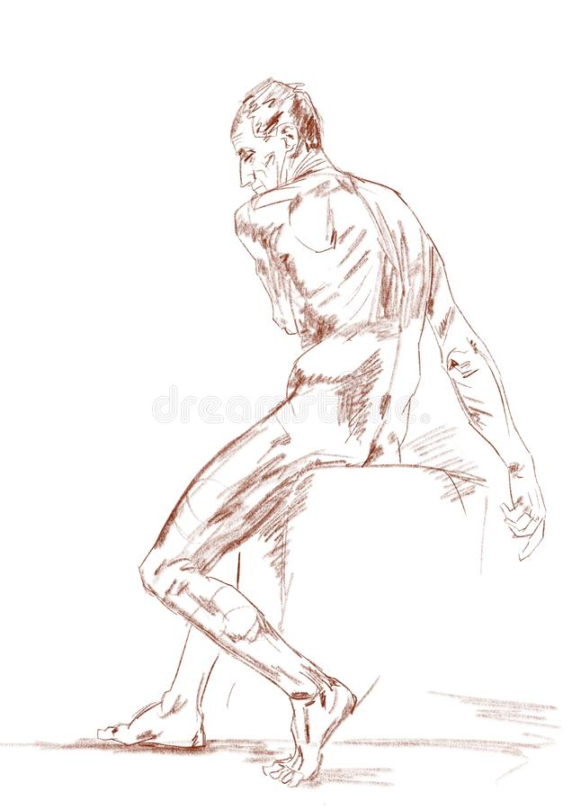 Nude male model sitting on cube. Academic drawing. vector illustration