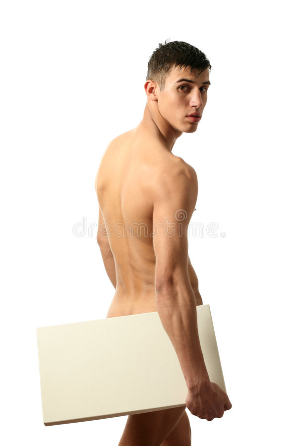 Nude Man with Copy Space Blank Billboard. Young muscular nude man covering a copy space blank billboard isolated on white royalty free stock image