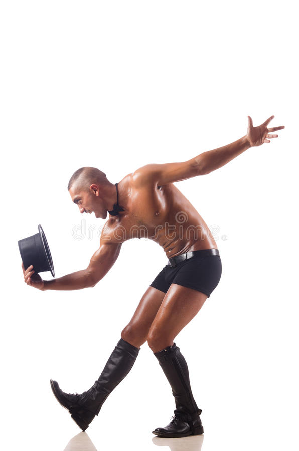 The nude man dancing on the white background. Nude man dancing on the white background royalty free stock images