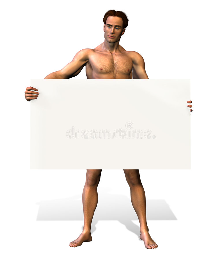 Download Nude Man Holding Sign - Includes Clipping Path Stock Illustration - Illustration of cute, hold: 111849