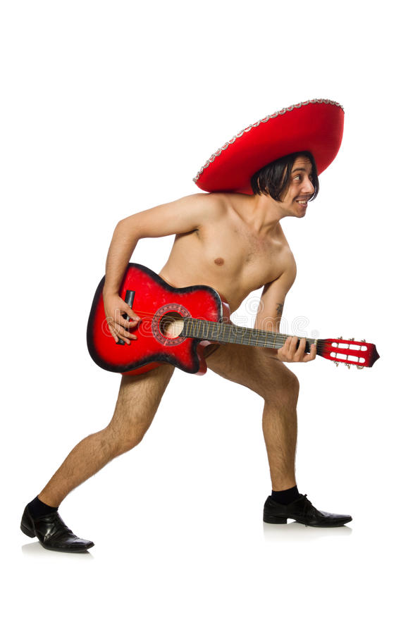 The nude man with sombrero playing guitar on white. Nude man with sombrero playing guitar on white stock image