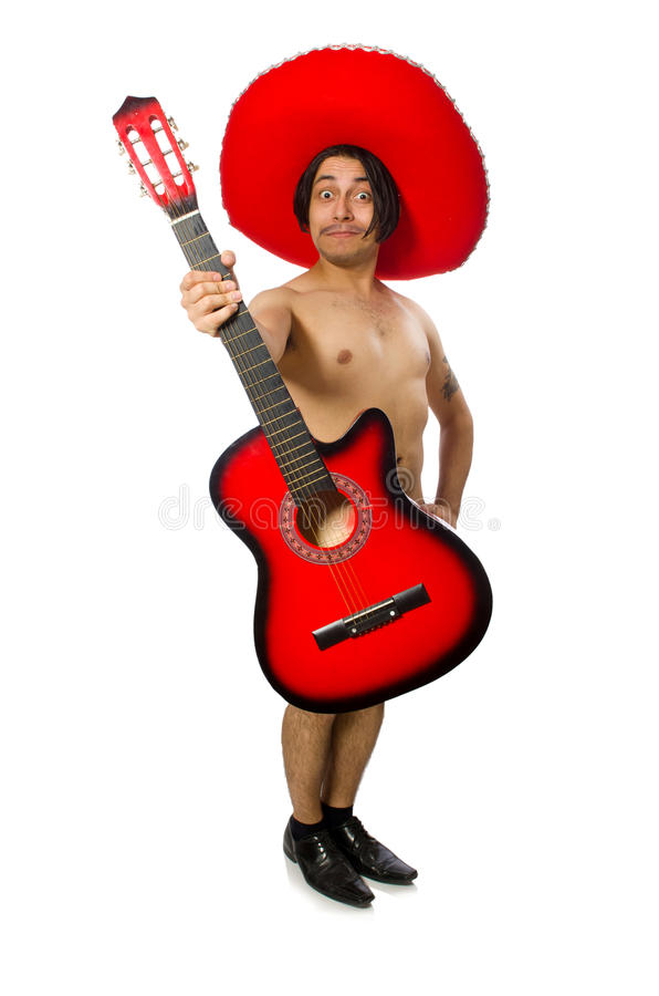 The nude man with sombrero playing guitar on white. Nude man with sombrero playing guitar on white royalty free stock images