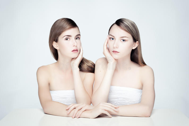 Nude portrait of two women. stock image