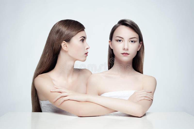 Nude portrait of two women. royalty free stock photos