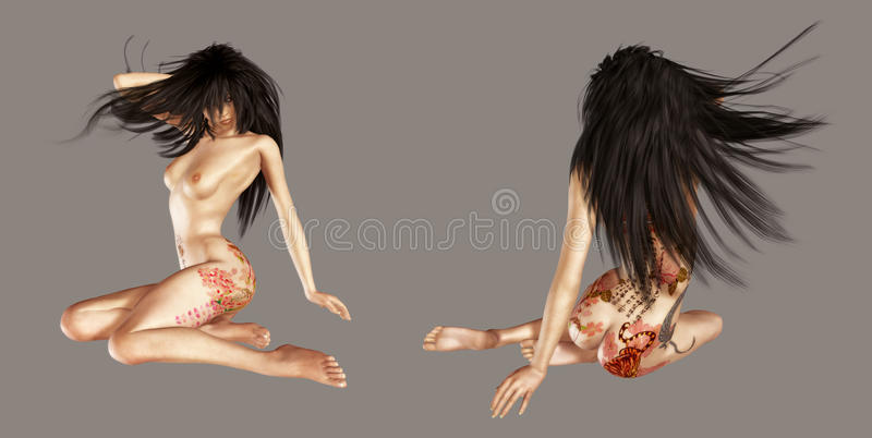 Download Nude girl with tattoo stock illustration. Illustration of stock - 20228151