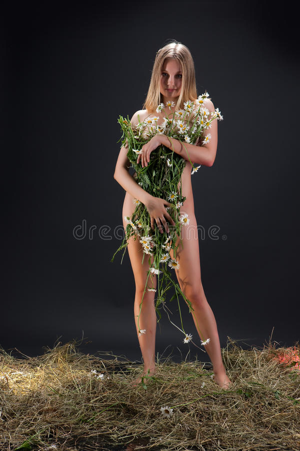Nude Woman With Camomiles stock image