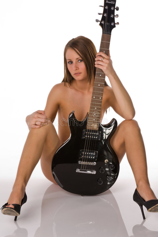 naked girl with guitar body