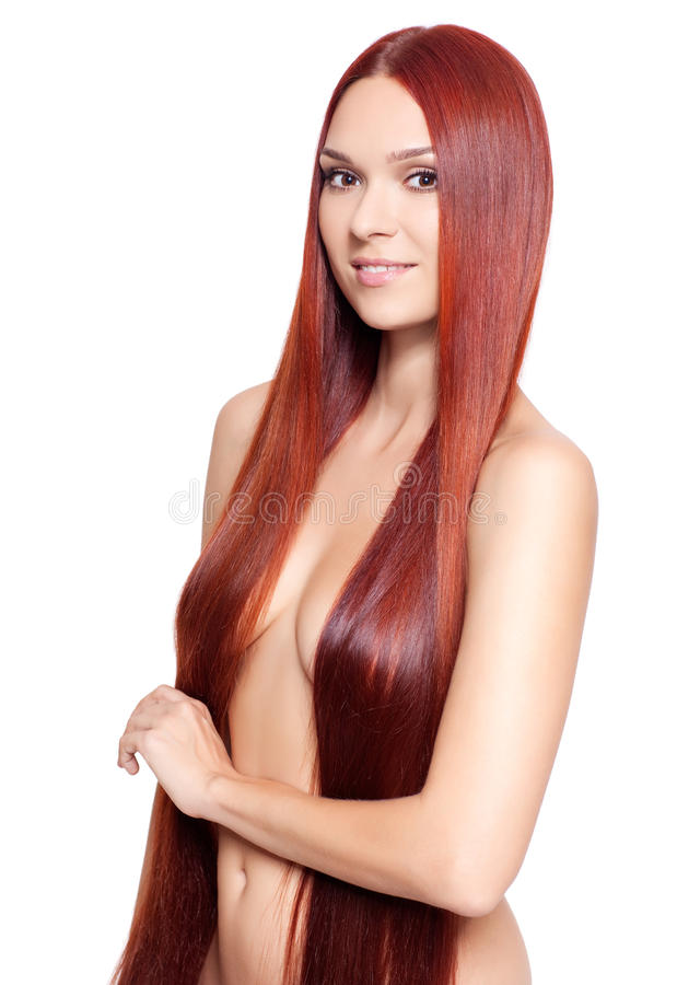 Nude Woman With Long Red Hair Stock Image - Image Of Bosom -2647
