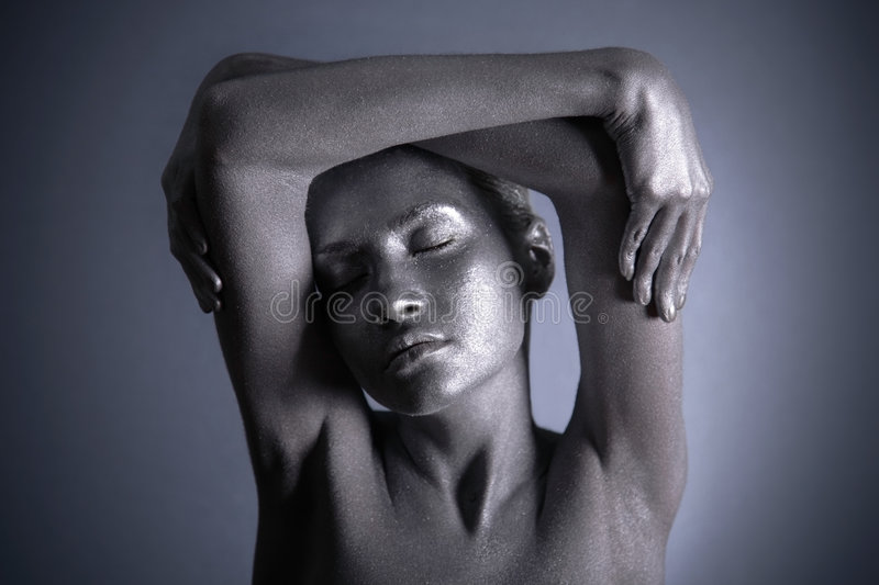 Nude Woman With Silver Make-up Stock Images